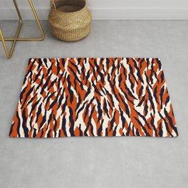 Zebra animal pattern in orange, black and light cream Rug