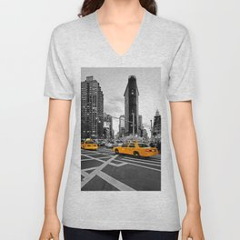 NYC Yellow Cabs Flat Iron Building Unisex V-Neck