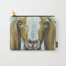 Goat Art, Cute Farm Animal Painting Carry-All Pouch
