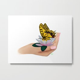Butterfly on water lily Metal Print