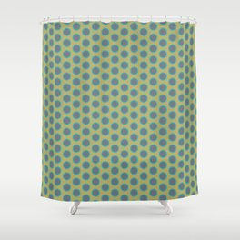LIMON - grey & bright sea green polka-dots on chartreuse Shower Curtain