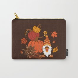 Pumpkins, star anise, cinnamon sticks, autumn leaves and gnome with a cup of pumpkin spice drink. Holiday card. Vintage fall design.  Carry-All Pouch