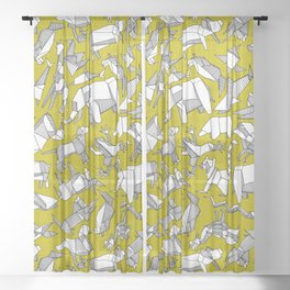 origami animal ditsy chartreuse Sheer Curtain