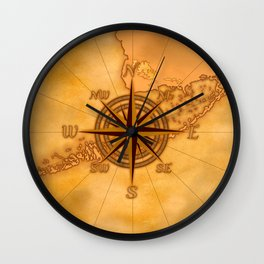 Antique Style Compass Rose Wall Clock