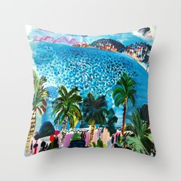 Promenade des Anglais Nice France Throw Pillow