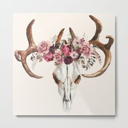 Wander Boho Rose Skull Metal Print