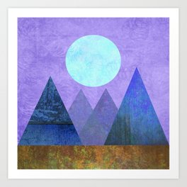 Take Me Away, Mountains, Full Moon Art Print
