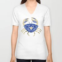 crab V-neck T-shirts featuring Crab – Navy & Gold by Cat Coquillette