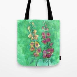 Hollyhock Foxglove Watercolor Honey & Berry on Green Tote Bag