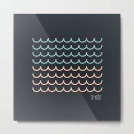 Blue and pink waves Metal Print