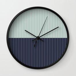 Color Block Lines XI Sage & Blue Wall Clock
