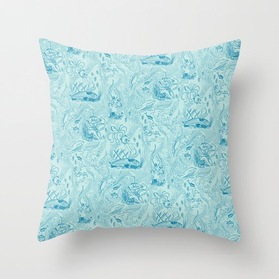 Le Grand Bleu Throw Pillow