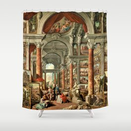 Giovanni Paolo Pannini 19th Century Masterpiece: Picture Gallery with Views of Modern Rome Shower Curtain