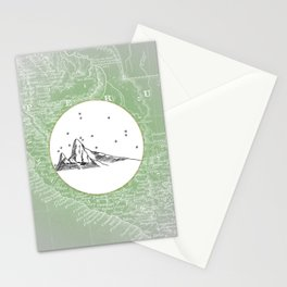 Machu Picchu, Peru, South America - Seven New Wonders Skyline Illustration Drawing Stationery Cards