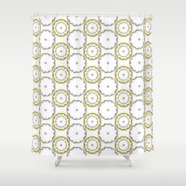 Gold and Silver Rings Polka Dot Pattern Shower Curtain
