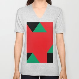 Green triangular base prisms floating in a deep red space. Unisex V-Neck