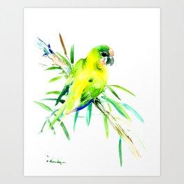 Green-Yellow Parrot, yellow green room design Art Print