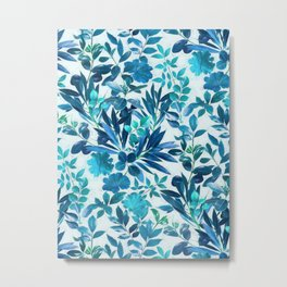 Garden Leaves in Aqua, Turquoise and Cobalt Blue Metal Print