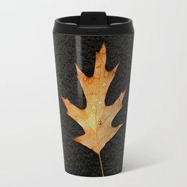 Oak Leaf on Black Background Travel Mug