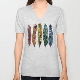 boho rainbow feathers Unisex V-Neck