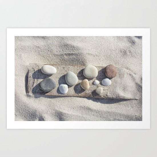 Beach pebble driftwood still life Art Print