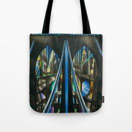 Brooklyn Bridge, New York City Skyline Art Deco landscape painting by Joseph Stella Tote Bag