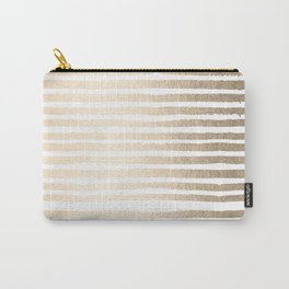 White Gold Sands Shibori Stripes Carry-All Pouch
