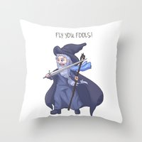 lotr Throw Pillows featuring Gandalf Chibi LOTR Hobbit  by ParallelPenguins