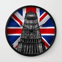 Big Ben (also known as Elizabeth Tower) with the Union Jack (UK flag) in the Backgroung - UK and London Cultural Icons and Symbols - Amazing Oil painting Wall Clock