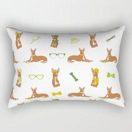 Pharaoh Hounds Pattern Green Rectangular Pillow