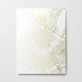 Wilkes-Barre Gold and White Map Metal Print