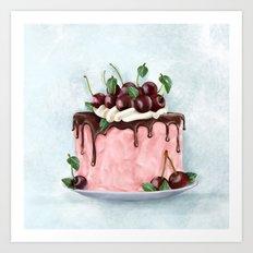 Cherry Cake Art Print