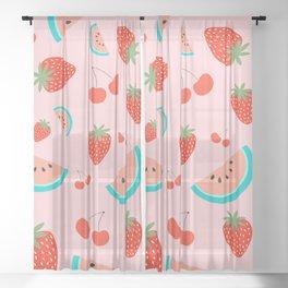 Fruit Salad (Pastel Pink) Sheer Curtain