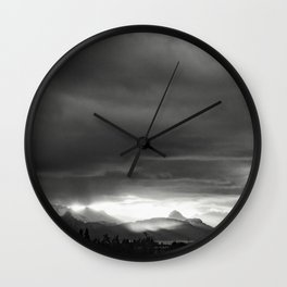 Sunrise over Kachemak Bay, Alaska - Black and White Wall Clock