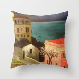 Full Moon over Taormina, Sicily, Italy - Ionian Sea landscape painting by Csontváry Kosztka Tivadar Throw Pillow