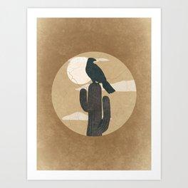 Desert Hawk On Cactus Sunset Art Print