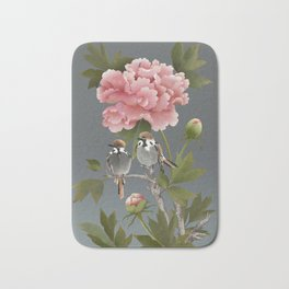 Sparrows and Peony Bath Mat