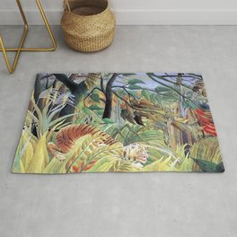 Tiger in a Tropical Storm (Surprised!) by Henri Rousseau 1891 // Jungle Rain Stormy Weather Scene Rug