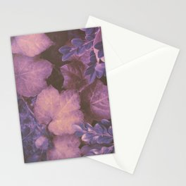 Blue Purple and Violet Autumn Leaves Stationery Cards