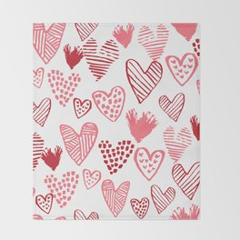 Hearts red and white hand drawn minimal modern fun valentines day gifts Throw Blanket