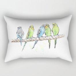 A Row of Budgerigars! Rectangular Pillow
