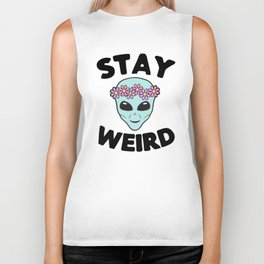 Stay Weird Alien Head Biker Tank