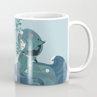 life aquatic Mugs featuring Aquatic Life of a Seaflower by Alexandra Gallant