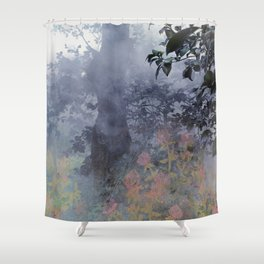 magical forest with ghostly flowers Shower Curtain