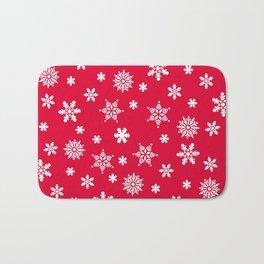 Snow Flurries-Christmassy Red Bath Mat
