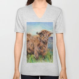 Highland Cow Unisex V-Neck