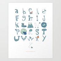 Nature Alphabet Illustrated Typography Art Print