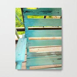 Old chippy painted teal wooden porch swing Metal Print