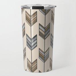 Boho Arrow Fletching Pattern - Neutral Brown and Grey Travel Mug