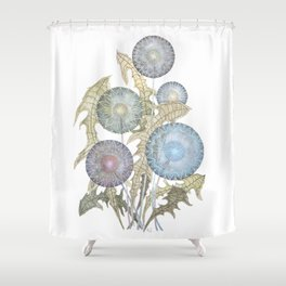 Dandelions watercolor painting Shower Curtain